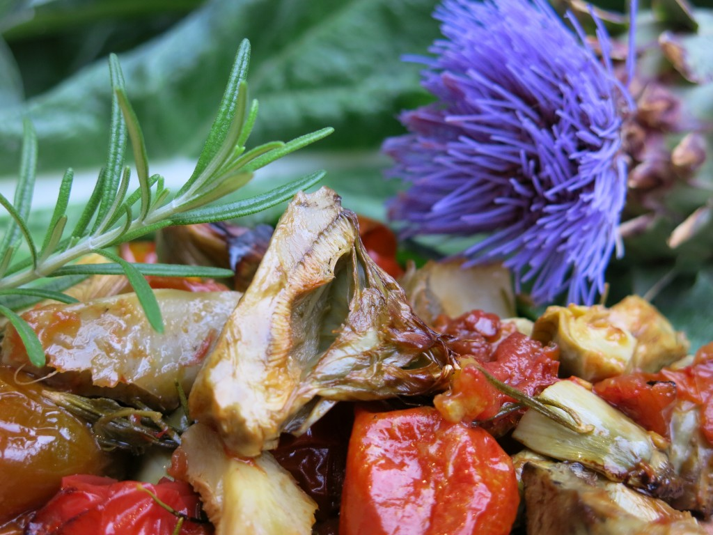 Artichokes, Tomatoes and Rosemary from the gardens of 124 Merton Street