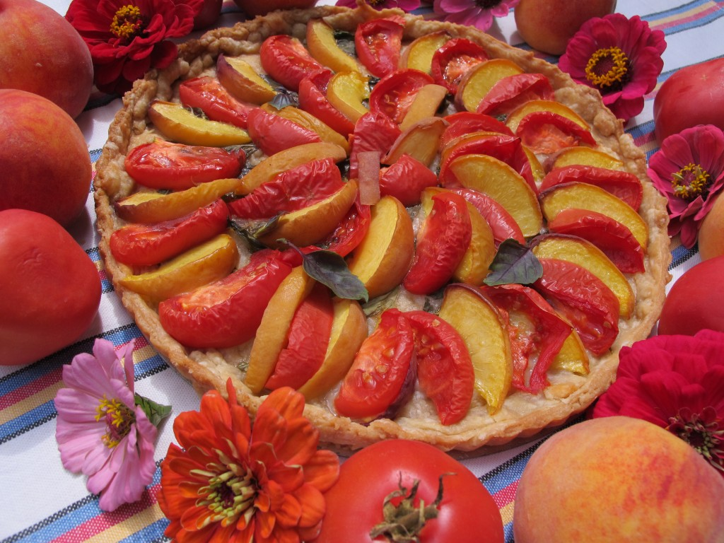 "Sweet Pate Brise Tart with Basil and ""Big Red Peach"" Tomatoes and Peaches"