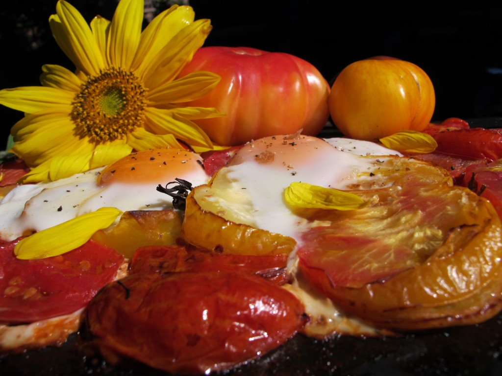 """Sunny Side Up"" Tomatoes and Eggs Baked on a Slate with Sunflowers"